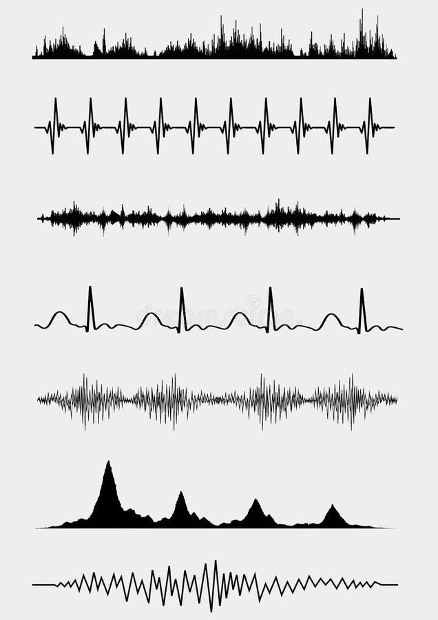 8 eps ανασκόπησης συμπεριλαμβανόμενα αρχείο καθορισμένα υγιή κύματα μουσικής διανυσματική απεικόνιση