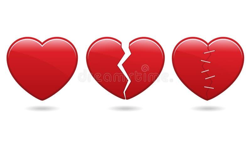 eps εικονίδια καρδιών διανυσματική απεικόνιση