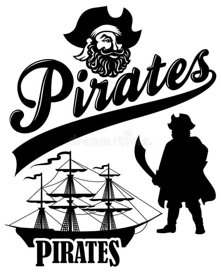 eps ομάδα πειρατών μασκότ διανυσματική απεικόνιση