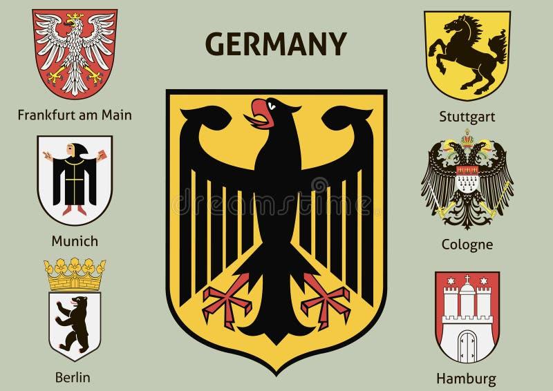 eps παλτών 8 πρόσθετος όπλων εικονογράφος μορφής αρχείου Πόλεις στη Γερμανία διανυσματική απεικόνιση