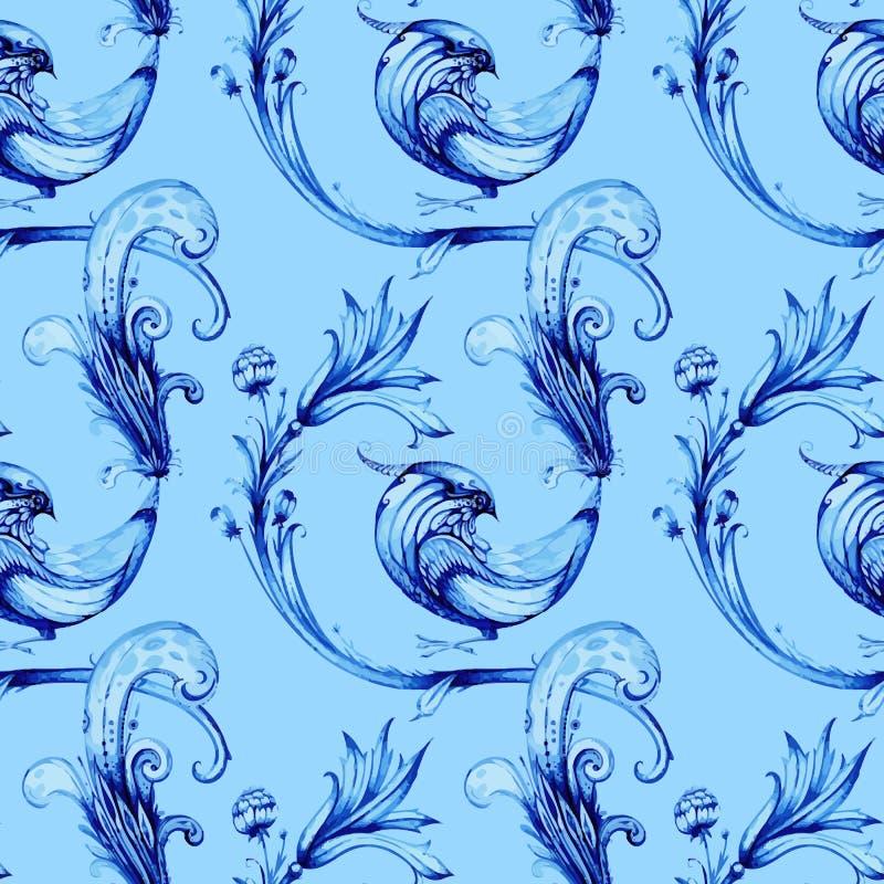 eps πουλιών μπλε editable σύνολο λουλουδιών Διανυσματικό σχέδιο watercolour ελεύθερη απεικόνιση δικαιώματος