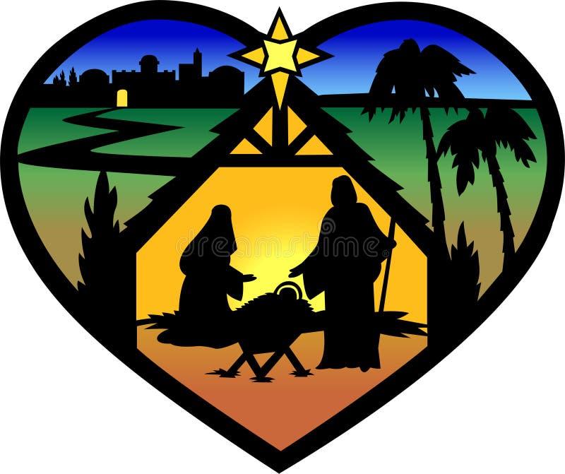 eps σκιαγραφία nativity καρδιών διανυσματική απεικόνιση