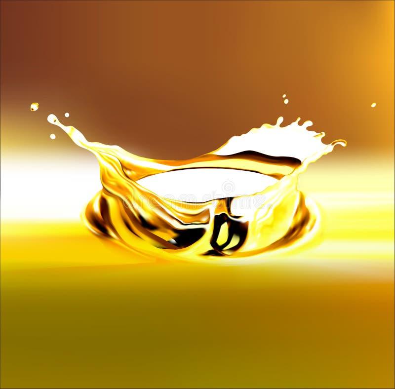 10 eps Выплеск оливки или машинного масла золота, иллюстрация 3d с путем клиппирования иллюстрация вектора