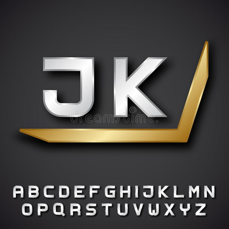 EPS10银色金黄字母表最初 皇族释放例证