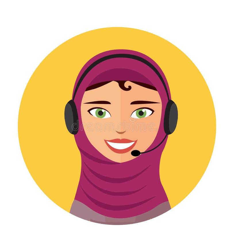 Арабский оператор центра телефонного обслуживания с иллюстрацией вектора помощи телефона работы с клиентом связи веб-дизайна знач иллюстрация штока
