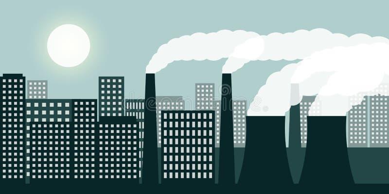 Πόλη και βιομηχανία με την αιθαλομίχλη βιομηχανίας ατμοσφαιρικής ρύπανσης και την επιβλαβή εκπομπή καυσαερίων ελεύθερη απεικόνιση δικαιώματος