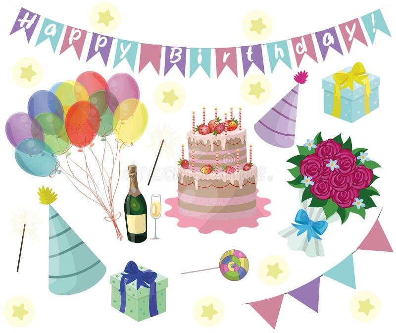 Установите элементов дня рождения вектора 10 eps бесплатная иллюстрация