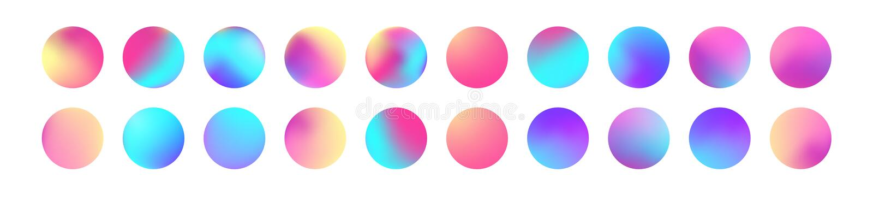被环绕的全息照相的梯度球形集合 在时髦样式的梯度五颜六色的球形 多色圆的按钮或生动 向量例证