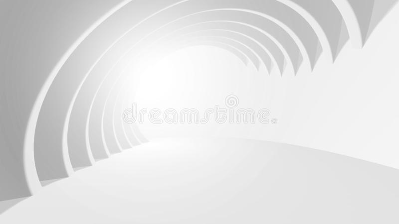 Eps10. Abstract Architecture Background. 3d Illustration of White Circular Building. Modern Geometric Wallpaper. Futuristic royalty free stock image