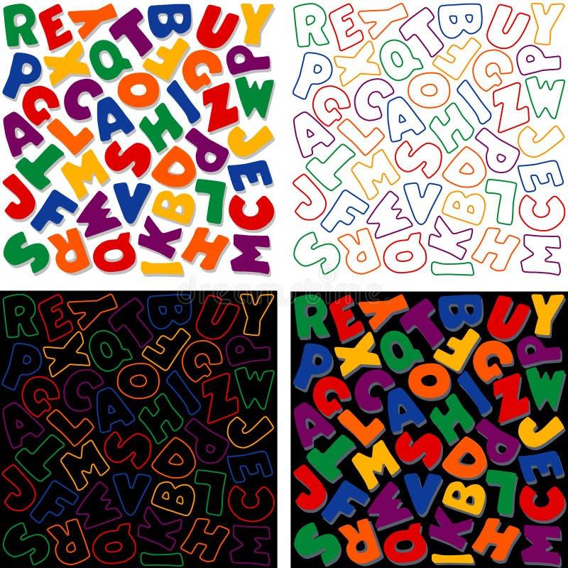 +EPS Alphabet-Auslegungen in sechs Farben stock abbildung