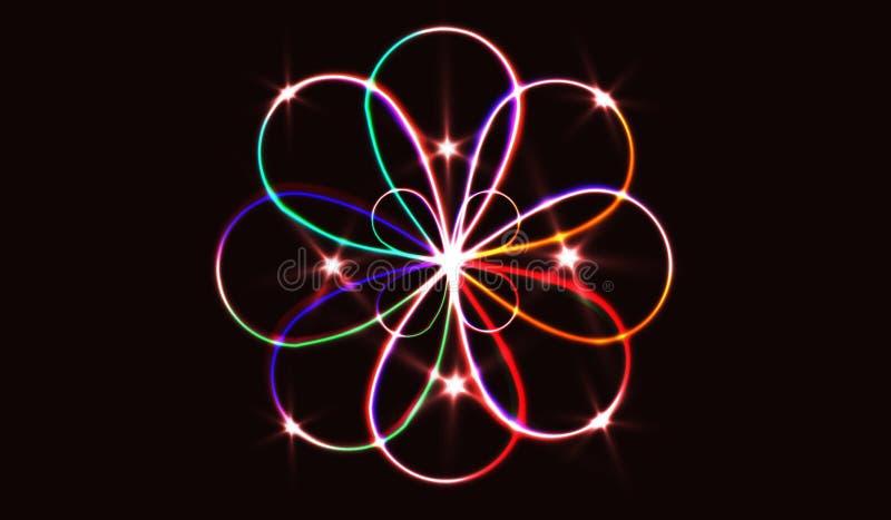 EPS10 Círculos obscuros de néon no movimento Efeito da fuga do redemoinho do vetor Os anéis luminosos abstratos retardam o efeito ilustração do vetor