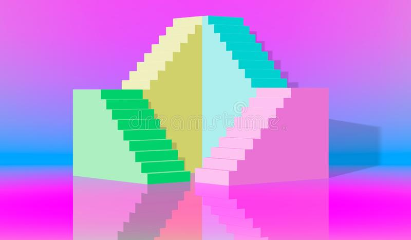 EPS10 3d翻译,青绿的台阶,步,在被成拱形的淡色的抽象背景,时尚指挥台,最低纲领派场面, 库存例证