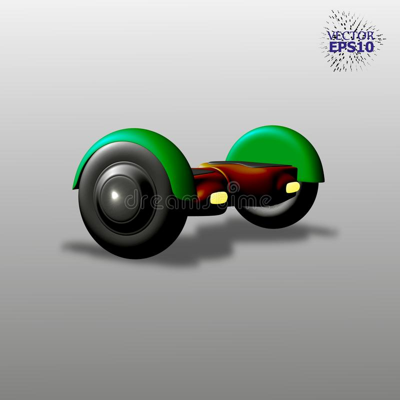 3D Electric Skate with a smart balance. Easy to edit color. stock illustration