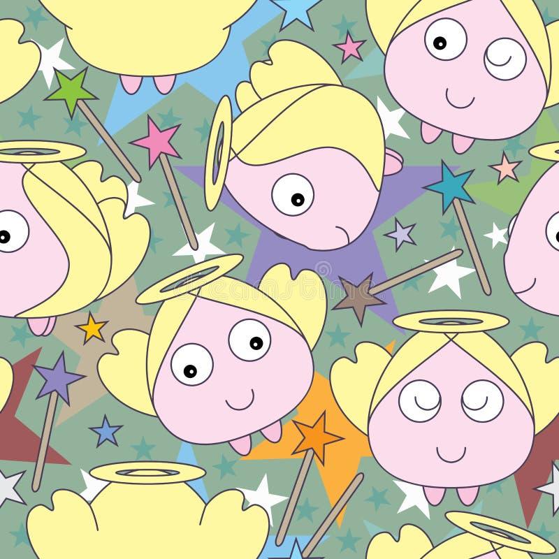 _eps de Angel Star Seamless Pattern ilustração stock