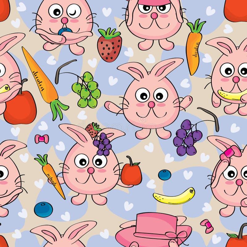_eps de Cat Fruit Seamless del conejo ilustración del vector