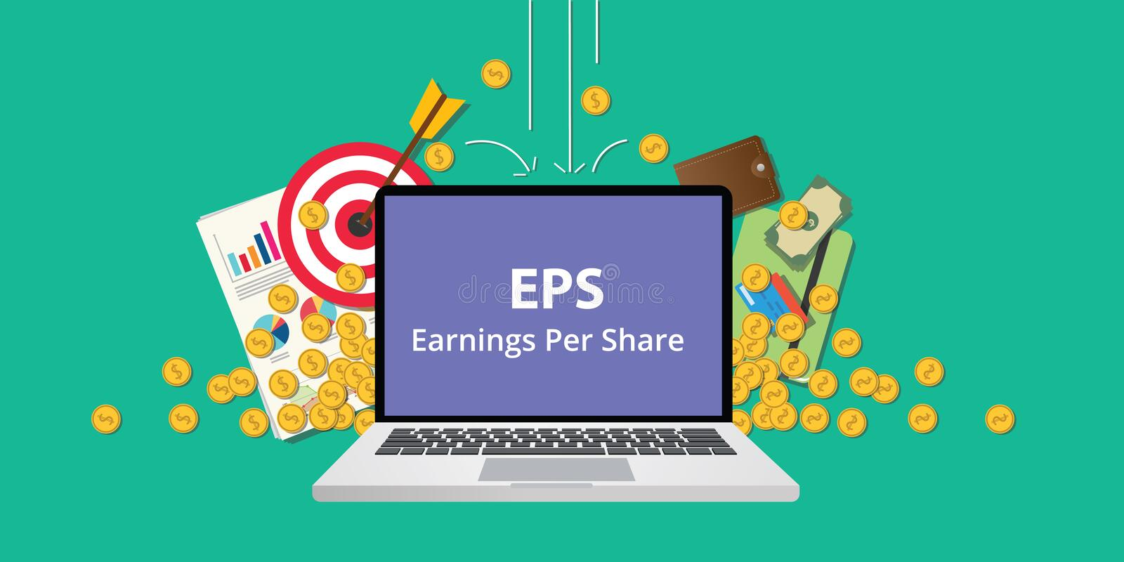 Eps earning per share stock business illustration with laptop and gold money coin goals falling from sky to reflect get stock illustration