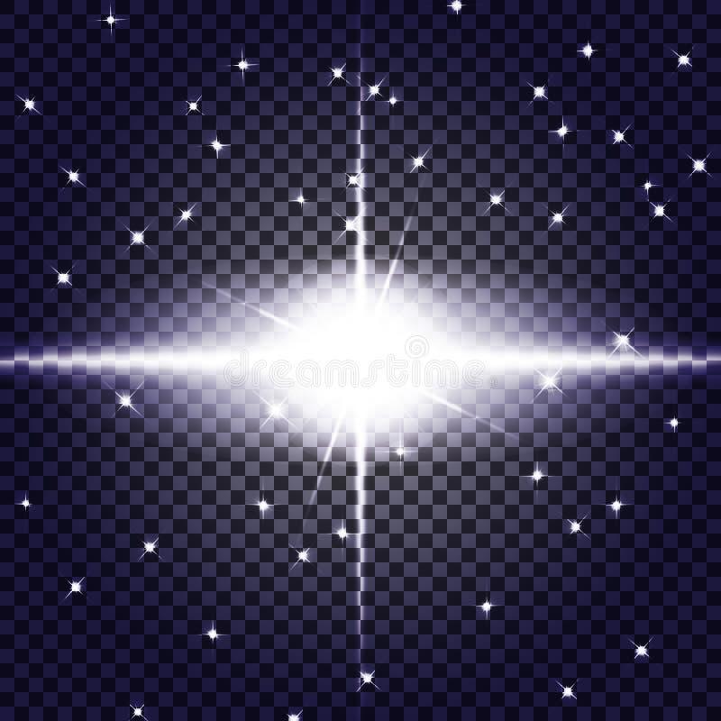 EPS10 Effet de la lumière de lumière du soleil de vecteur de fusée spéciale transparente de lentille illustration libre de droits