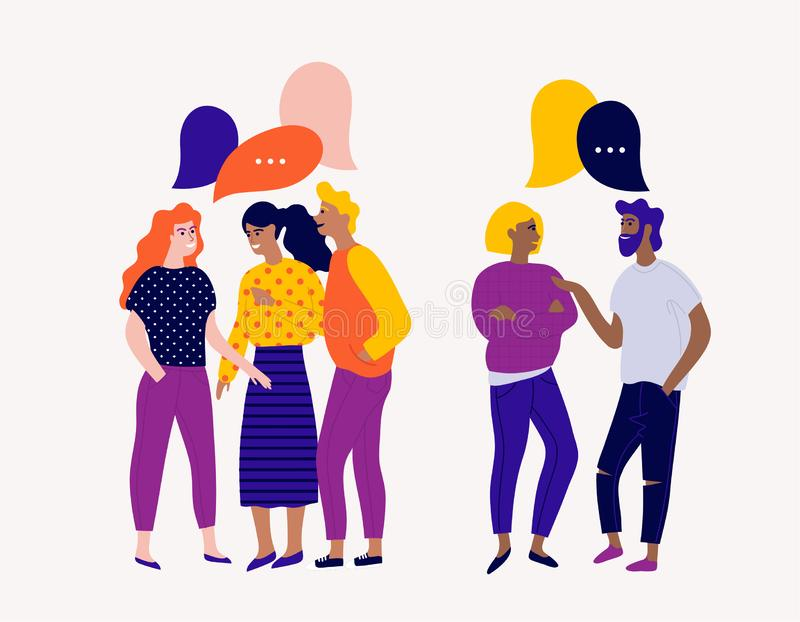 Flat vector illustration with young people characters with colorful dialog speech bubbles. Discussing, chatting, conversation, dia stock illustration