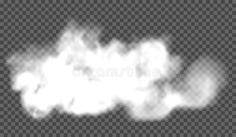 EPS 10. Fog or smoke transparent special effect. White vector cloudiness, mist or smog background. Vector illustration royalty free stock image