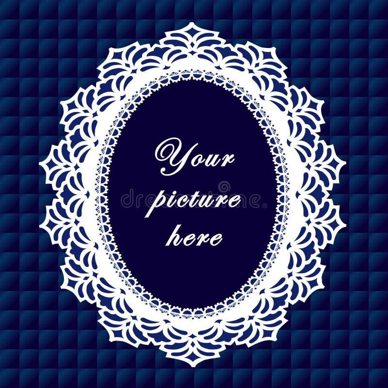 +EPS het blauwe Ovale Frame van het Kant, Naadloze Achtergrond royalty-vrije illustratie