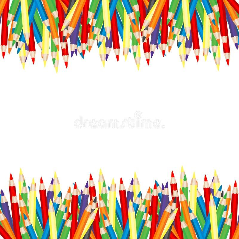 +EPS het Frame van kleurpotloden stock illustratie