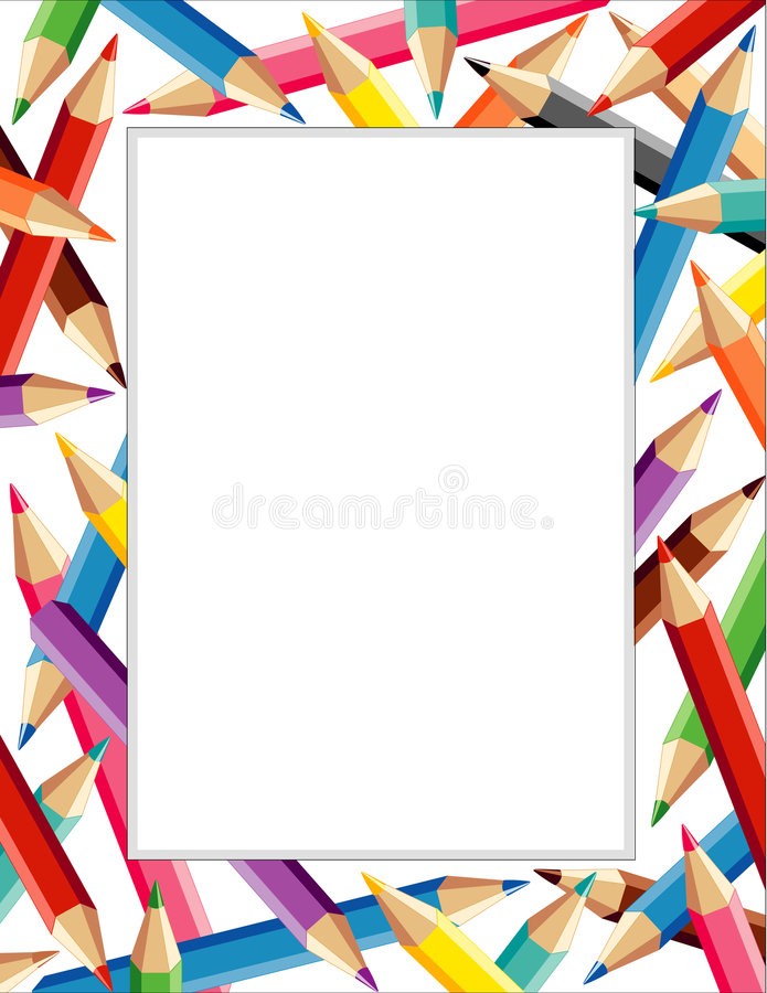 +EPS het Frame van kleurpotloden   vector illustratie