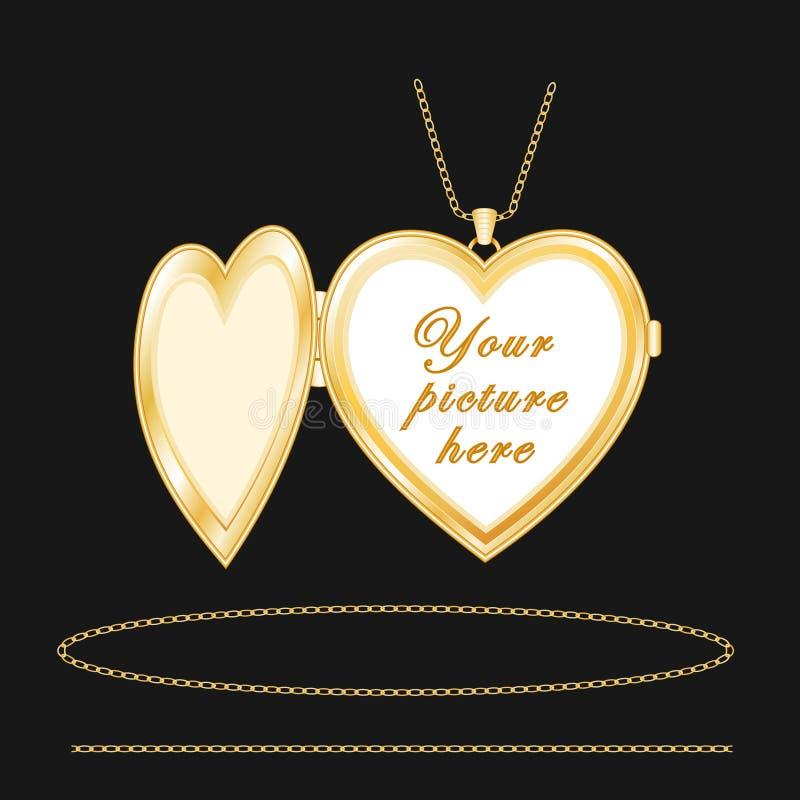 +EPS het gegraveerde Gouden Medaillon van het Hart stock illustratie