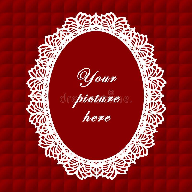 +EPS het rode Ovale Frame van het Kant, Naadloze Achtergrond royalty-vrije illustratie