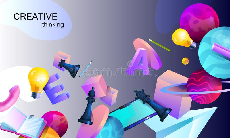 Inspirational vector background with 3D objects. Brainstorm and teamwork stock concept stock photo