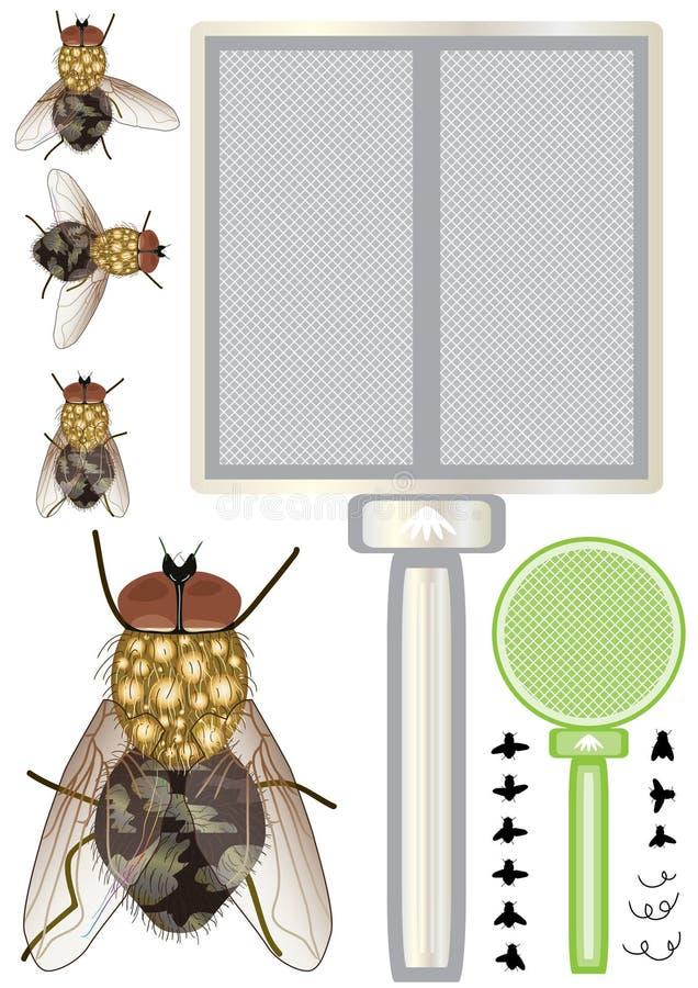 eps housefly set royalty ilustracja