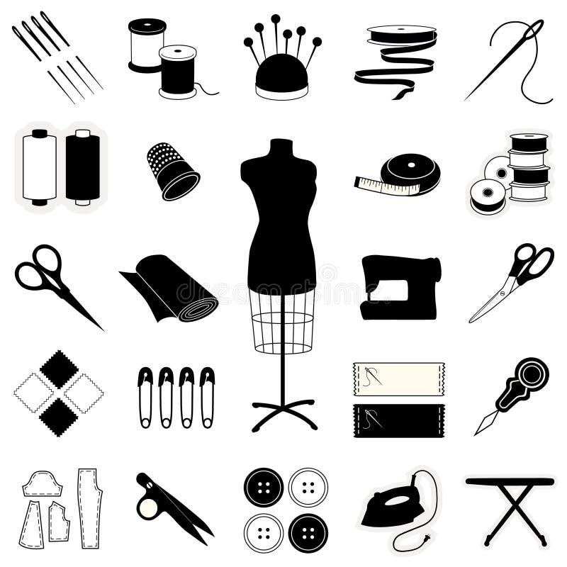 +EPS inzameling van het Naaien van en het Maken van Pictogrammen vector illustratie