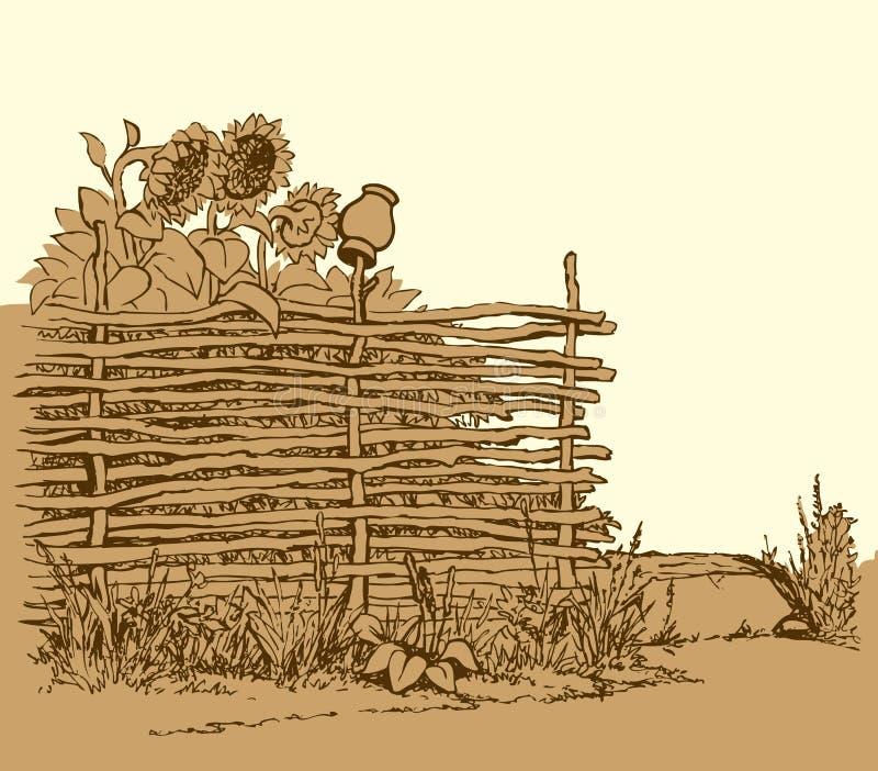 eps kartoteka zawierać krajobrazu wektor Kwitnący słoneczniki za starym ogrodzeniem ilustracja wektor