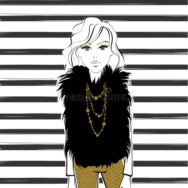 eps kartoteki dziewczyna zawierać wektor pani elegancka ilustracja wektor