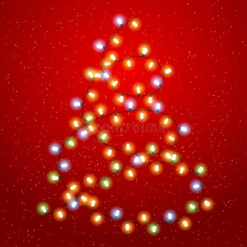 Eps 10 Kerstmisachtergrond met lichtgevende slinger royalty-vrije illustratie