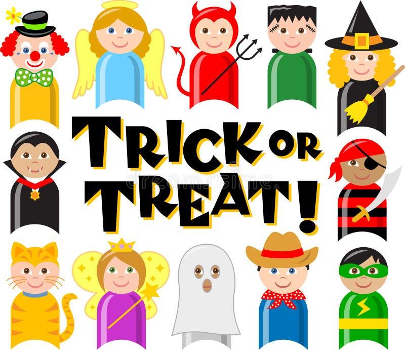 eps kostiumowi dzieciaki Halloween ilustracja wektor