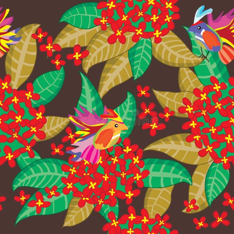 eps kwiatu grupy liść deseniowy czerwony bezszwowy royalty ilustracja