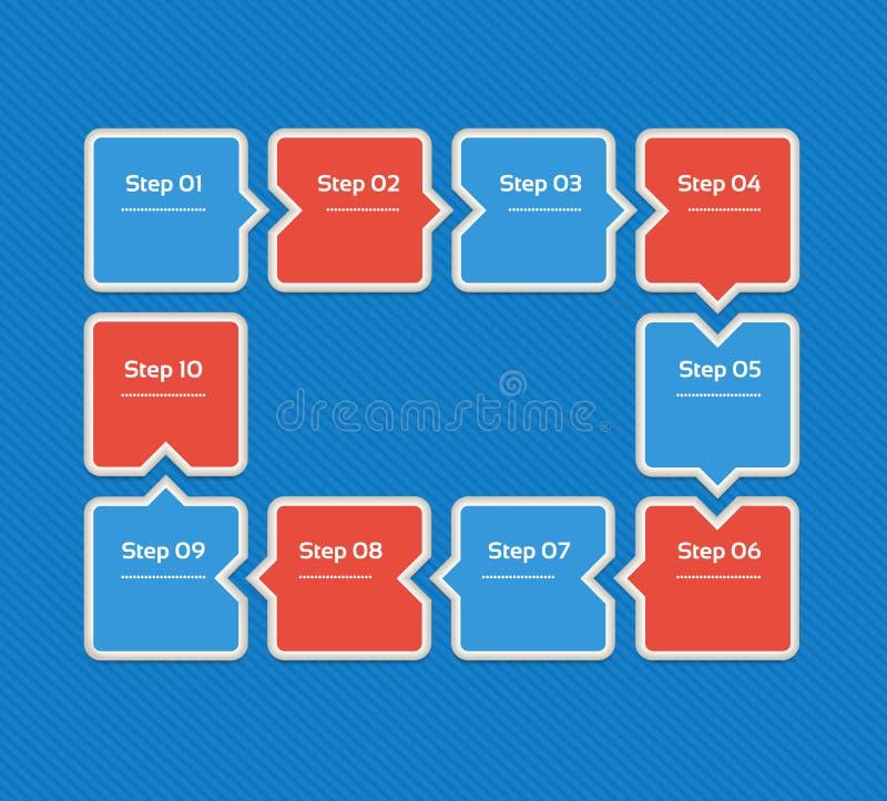 eps 10 Malplaatje voor diagram, grafiek, presentatie en grafiek Bedrijfsconcept met 10 opties, delen, stappen royalty-vrije illustratie