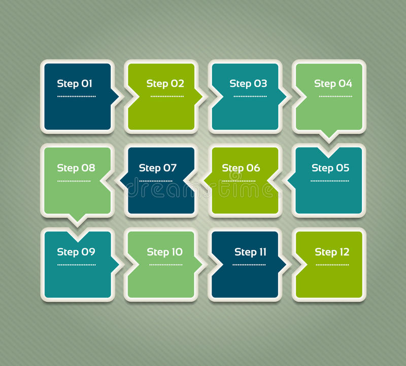 eps 10 Malplaatje voor diagram, grafiek, presentatie en grafiek Bedrijfsconcept met 12 opties, delen, stappen of royalty-vrije illustratie