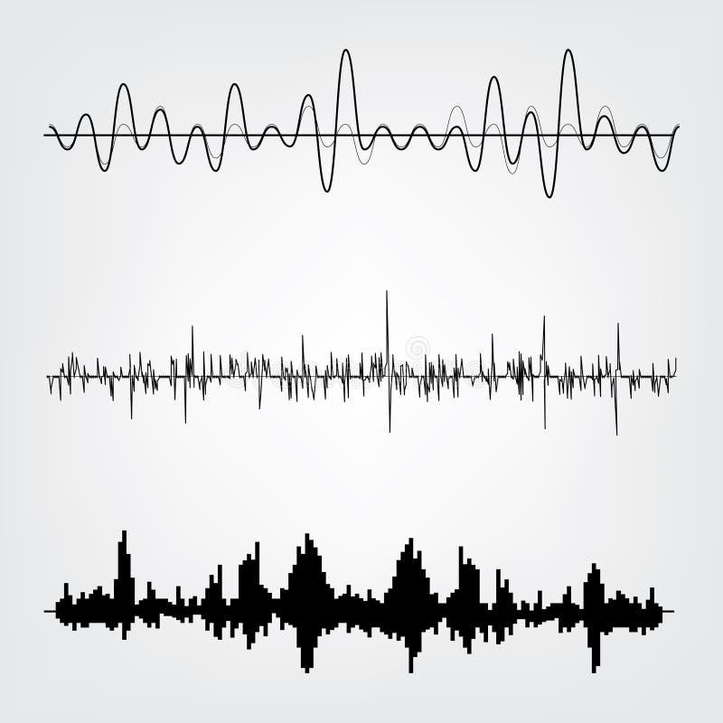 eps-mappen för 8 bakgrund inkluderade set sound waves för musik stock illustrationer