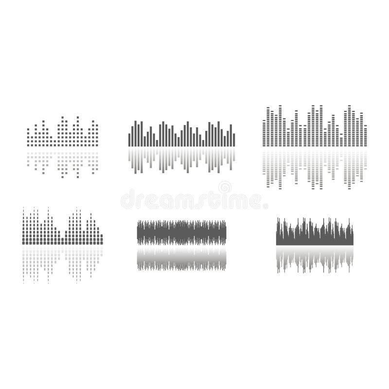 eps-mappen f?r 8 bakgrund inkluderade set sound waves f?r musik Ljudsignal spelare Ljudsignal utj?mnareteknologi, pulsmusikal ill royaltyfri illustrationer
