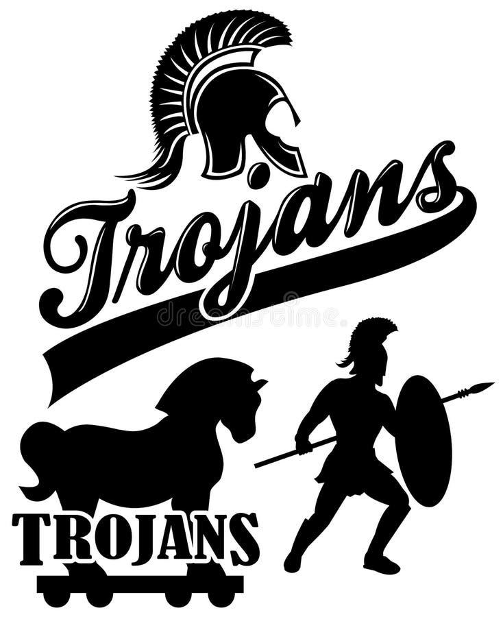 eps maskotki drużyny trojańczyk royalty ilustracja