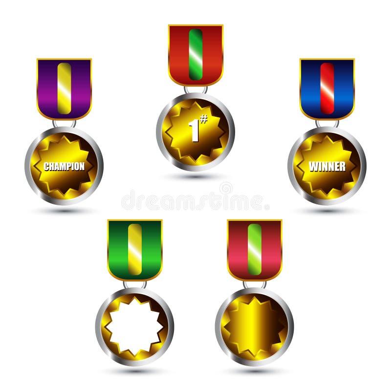 eps-medaljer ställde in vektorn royaltyfri illustrationer