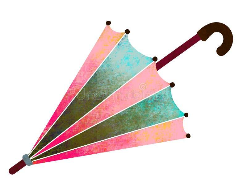 8 eps nad podeszczowym parasola wektoru biel Malujący, stubarwny parasol dalej na białej tło ilustracji, ilustracja wektor