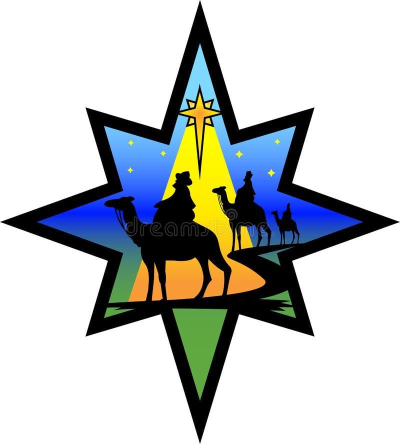 eps narodzenia jezusa sylwetki gwiazda wisemen ilustracja wektor