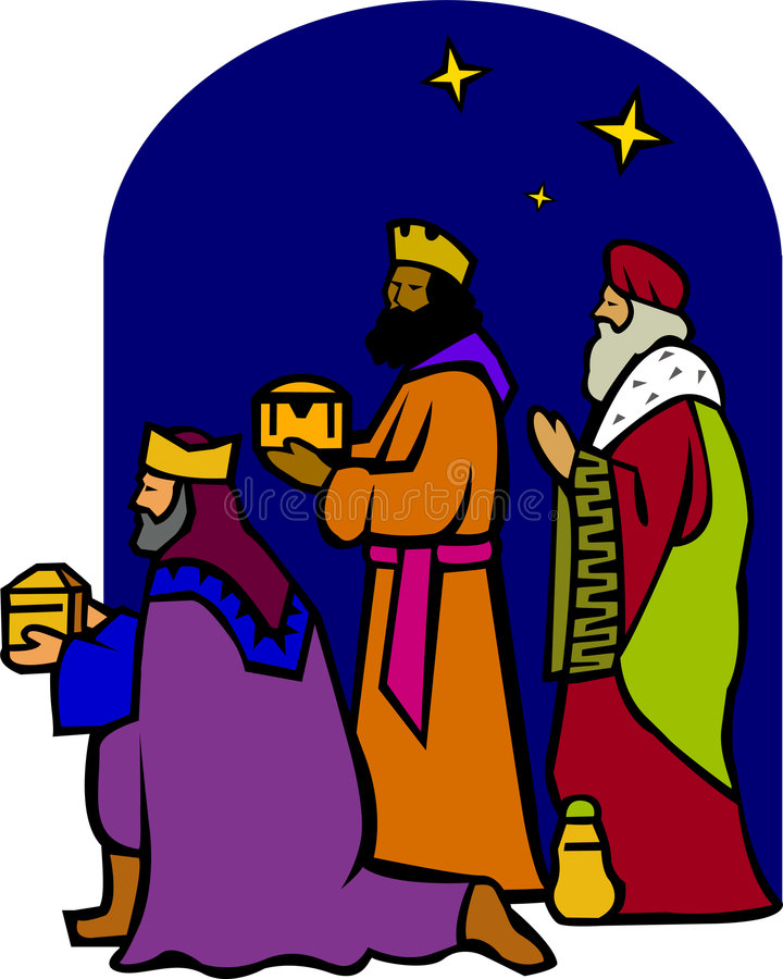 eps-nativity tre wisemen royaltyfri illustrationer