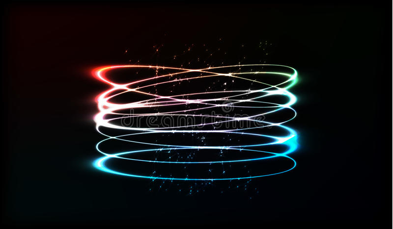 EPS10. Neon blurry circles at motion . Vector swirl trail effect . Abstract luminous rings slow shutter speed effect . Bokeh glitt stock illustration