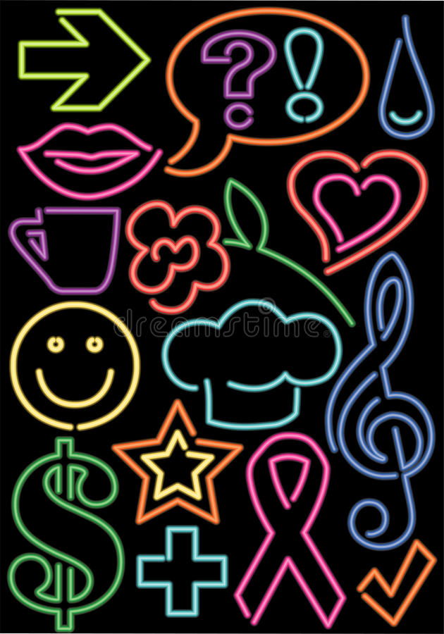 eps neon symbole royalty ilustracja