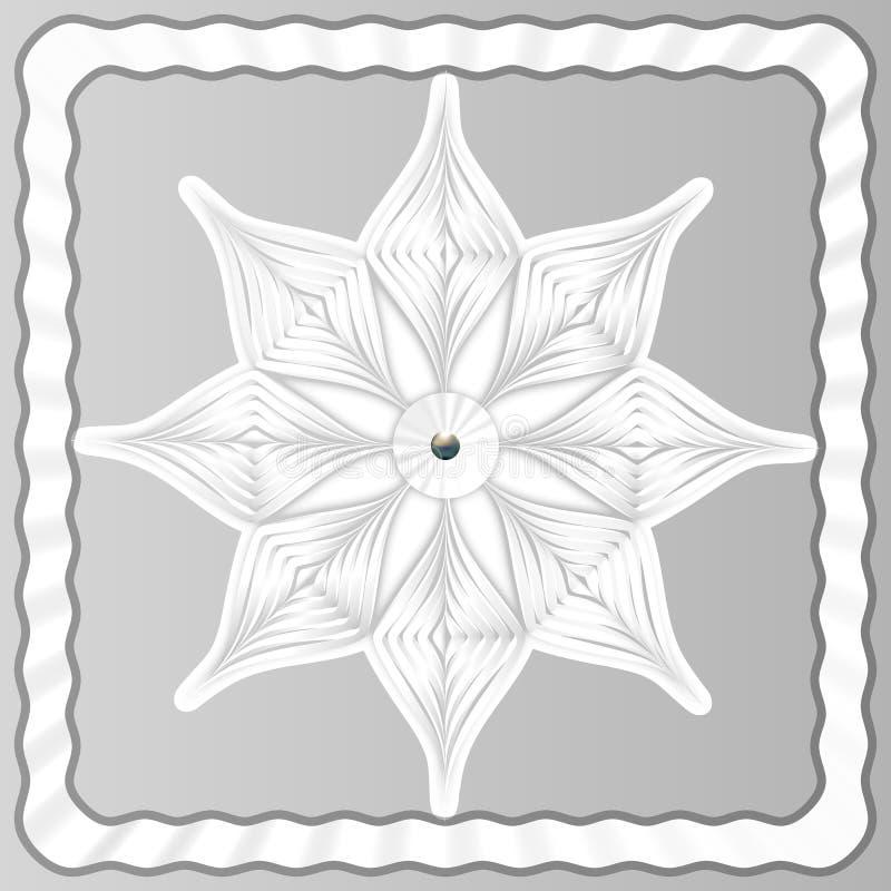 EPS10 också vektor för coreldrawillustration Vit snöflinga för volym från papper på en ljus bakgrund i en ram Nytt års arnament N royaltyfri illustrationer