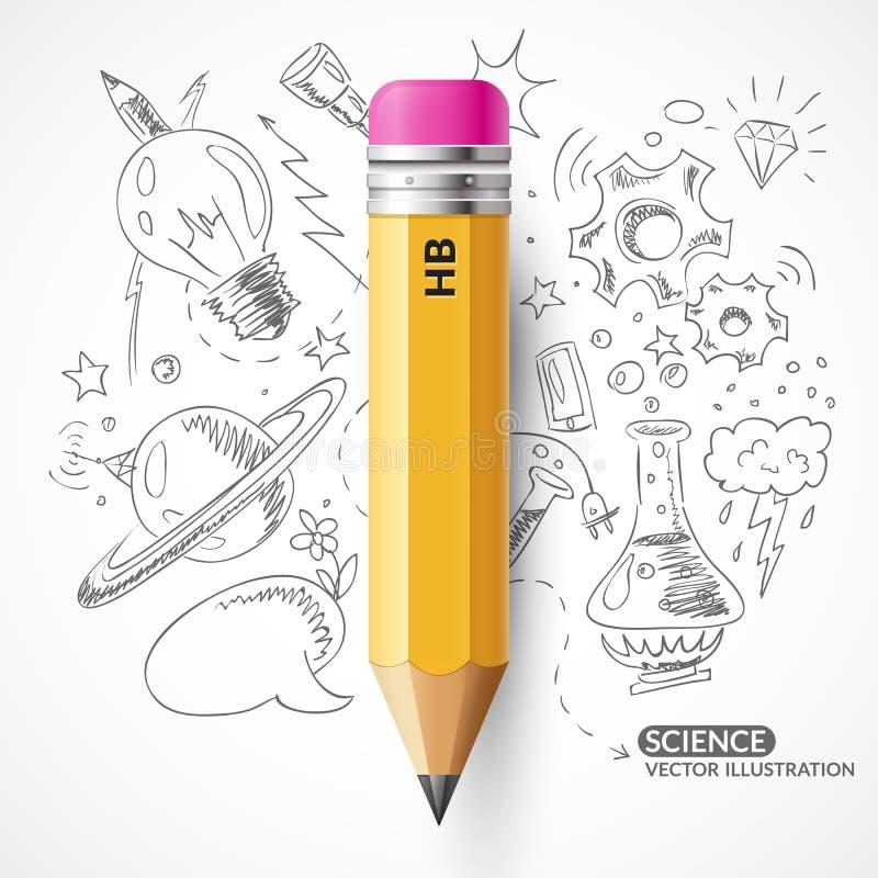 8 eps odizolowywający ołówka wektoru biel ilustracja wektor