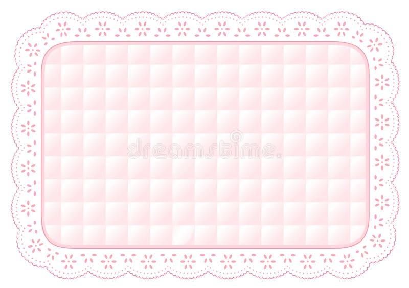 +EPS Onderleggertje van het Kant van het Oogje van de baby het Roze Gewatteerde vector illustratie